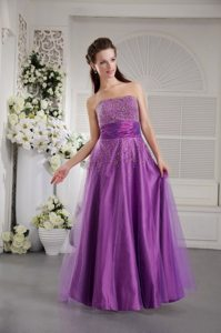 Buena Park CA Lavender Long Prom Graduation Dress with Beading
