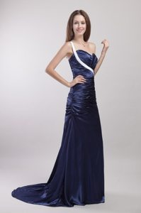 One Shoulder Brush Train Prom Gown Dresses Ruching Sweetheart for 2013