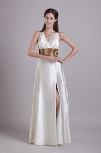 White V-neck Prom Graduation Dress with Belt and High Slit 2014