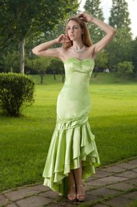 Mermaid Sweetheart High-low Beaded Prom Dress in Spring Green