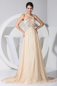 Sweep Beading Decorate Prom Gown with Asymmetrical Neckline