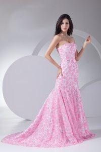 Special Floral Embossed Fabric for Mermaid Prom Dress in Pink