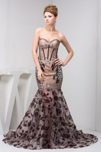 2014 Mermaid Sweetheart Beading Tan Prom Dress with Lace