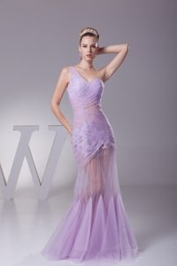 One Shoulder Mermaid Prom Lavender Dresses with Sheer Waist