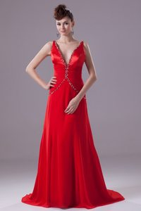 Beading and Ruching for Red V-neck Brush Prom Dresses in 2014