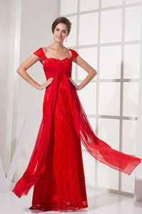 New Red Zipper-up Ruche Prom Holiday Dress Floor-length Lace Decorated