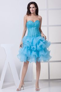 Perfect Ruffled Layers Prom Dress for Ladies Beading Sweetheart Organza