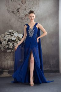High Slit Beaded Prom Gown Dress Watteau Train in Royal Blue for Juazeiro