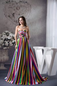 Multi-color Sweetheart Sweep Prom Dress in New Zealand