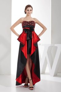 Bow Decorate Sweetheart High-low Prom Dress in Black and Red