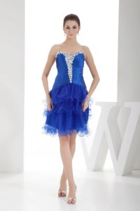 Knee-length Royal Blue Prom Graduation Dress Beading Organza in Fashion