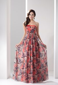 Colorful Printed Prom Holiday Dress Strapless Floor-length Zipper up Back