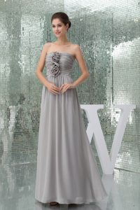 inexpensive Chiffon Strapless Ruched Prom Gown with Hand Made Flowers