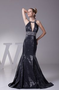 2014 Halter Top Beading Black Prom Evening Dress Mermaid Design