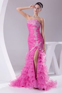 Mermaid High-slit Prom Dress with Appliques Pleats and Ruffled Layers