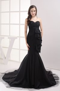 Mermaid Black Prom Gowns Sweetheart with Ruches Court Train for Mage