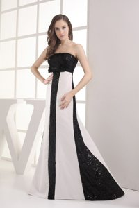 White and Black Prom Graduation Dresses Sequins Strapless Floor-length