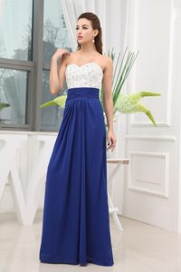 White and Royal Blue Prom Evening Dress Beading Floor-length in Chiffon