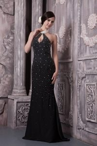 Halter with Key Hole Black Prom Evening Dress Beading Accent