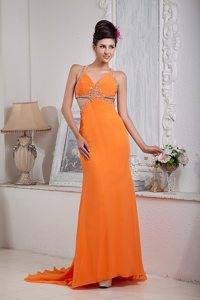 Sexy Orange Red Beading Halter Prom Evening Dress with Brush