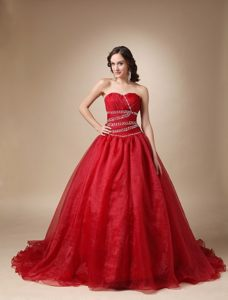 Beaded and Ruched Wine Red Sixteen Quinceanera Dress Brush Train
