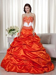 Appliques and Pick ups Accent Orange Red 16 Quinceanera Dresses