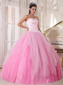 Temecula CA Pink Tulle Sixteen Quinceanera Dresses with Beading