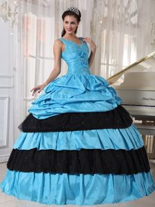 Blue and Black Taffeta Sixteen Quinceanera Dress with Appliques