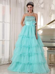 Beading and Ruffled Layers Accent Quinceanera Gown in Apple Green