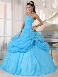 Baby Blue Sweet Sixteen Quinceanera Dresses with Appliques 2014