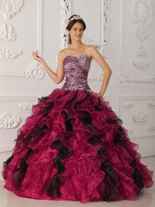 Fuchsia and Black Leopard Print Sweet Sixteen Quinceanera Dresses