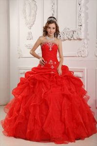 Sunnyvale CA Red Sweet Sixteen Quinceanera Dresses with Appliques