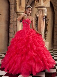 Coral Red Organza Quinceanera Dresses with Ruffles and Beading