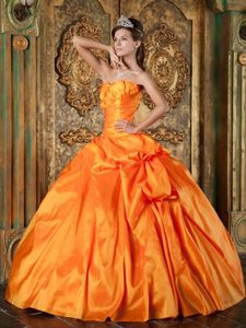 Sherman Oaks CA Orange Quinceanera Dresses with Ruches and Pick ups
