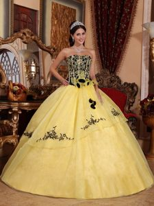 Saratoga CA Yellow Quinceanera Gown Dresses with Embroidery