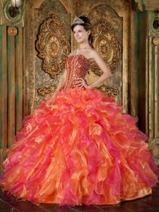 Beading and Ruffles Accent Orange and Hot Pink Quinceanera Gown