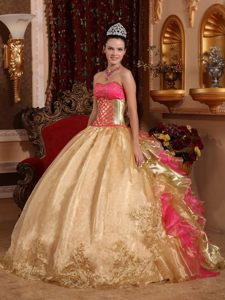 Ruffled Layers Accent Quinceanera Gown Dresses in Gold and Hot Pink