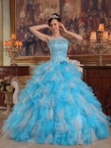 Appliqued Aqua Blue Sweet 15 Dresses with Organza Ruffles