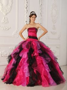 Black and Hot Pink Sweet 15 Dresses with Appliques and Ruffles