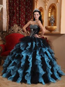 Beaded and Ruffled Quinceanera Dresses in Blue and Black 2014