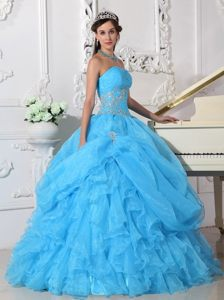 Beaded Aqua Blue Quinceanera Dresses with Ruffles and Pick ups