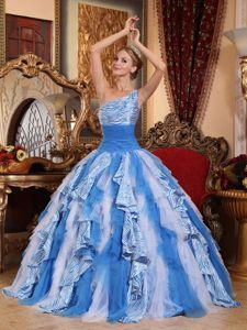 White and Blue One Shoulder Zebra Quinceanera Dress with Ruffles