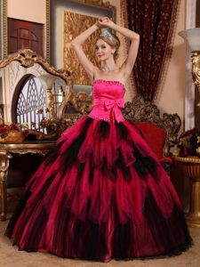 Multi-tiered Strapless Beaded Quinceanera Gowns with Bow in Vogue