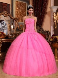 Ball Gown Quinceanera Dress Strapless Appliques with Lace up Back