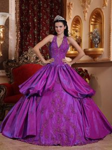 Purple Hater Top Sweet 15 Dresses with Appliques for Duque De Caxias