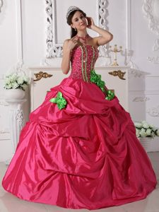 Coral Red Ruffled Quinceanera Dress Beading with Hand Made Flowers