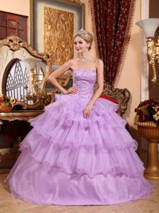 New Strapless Beaded Sweet Sixteen Dresses with Ruffles in Lavender