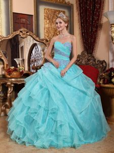 Baby Blue Sweetheart Ruffled Quinceanera Gowns Appliques in Fashion