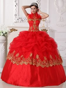 Halter Top Red Dresses for 15 Beading Appliques to Sao Goncalo