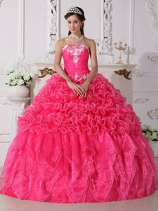 Fashionable Ruches and Appliques Dress for Quinceanera with Ruffles